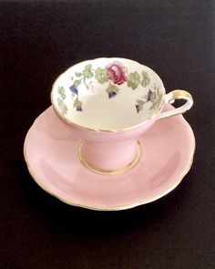 ANSLEY bone china pink tea cup and saucer with hand painted cabbage roses and thistle Shabby Chic ~ Birthday Gift / Get Well Gift / Mom Gift by AtoZCherishedVintage on Etsy