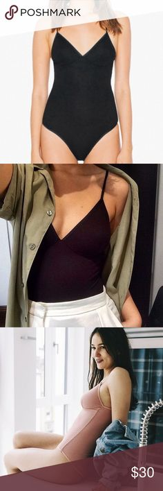 2x2 Rib Triangle Top 'Sofia' Bodysuit NEW WITHOUT TAGS. Color: Black *price firm* American Apparel Tops