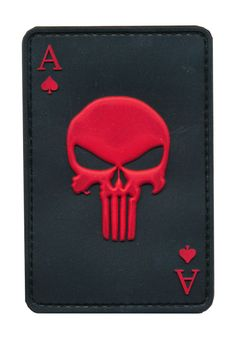 Patch Squad Men's Red PVC Ace of Spade Death Dead Man's Hand Morale Patch