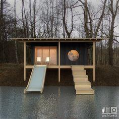 Lesni viz02 Floating House, Holiday Accommodation, Sauna, Bath Design, Ping Pong Table, Tiny House, Cabin, Interior Design, Architecture