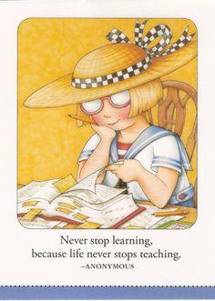 Never Stop Learning Because Life Never Stops Teaching Magnet Mary Engelbreit Art | eBay