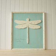 Vintage style shabby chic cottage decor in wood. One of a kind, Framed Dragonfly in Robin's Egg Blue.