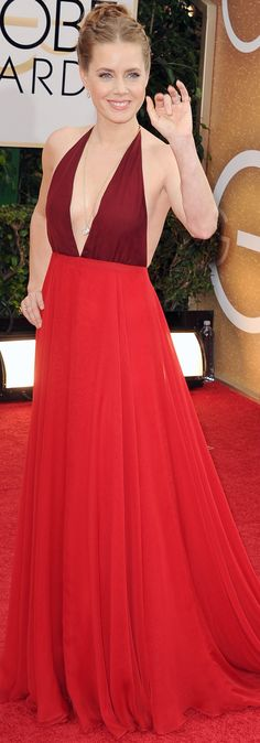 Amy Adams in a luscious red Valentino dress on the Golden Globes red carpet