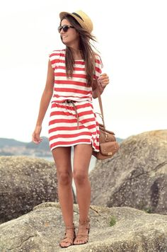 red & white stripe nautical dress with belt, fedora, and nude accessories