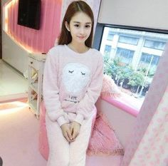 Winter Female Pajama Polyester Full Trousers Lady Two Piece Pajama Set  Cartoon Bear Home Clothing Women s Flannel Pajamas Set cc7810409