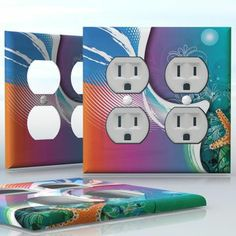 DIY Do It Yourself Home Decor - Easy to apply wall plate wraps | Vacation on the Beach Beautiful image with seastar wallplate skin sticker for 2 Gang Wall Socket Duplex Receptacle | On SALE now only $4.95