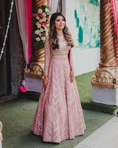 Blush Pink lehenga with sequins embroidery on the lehenga while the blouse features intricate shimmery work. Making A Wedding Dress, Wedding Dresses For Girls, Indian Wedding Outfits, Bridal Outfits, Indian Outfits, Girls Dresses, Indian Dresses For Women, Indian Clothes, Indian Weddings
