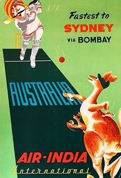 Vintage Air India Travel To Australia Cricket Players A3