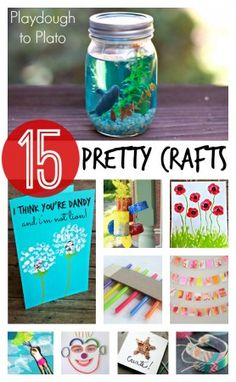 15 pretty arts and crafts for kids! These colorful and easy crafts are great ideas for preschool, kindergarten and first grade this summer! Crafts For Kids To Make, Crafts For Teens, Projects For Kids, Kids Crafts, Easy Crafts, Art For Kids, Craft Projects, Arts And Crafts, Craft Ideas