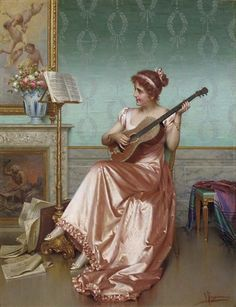 In the Music Room by Vittorio Reggianini (Italian 1858-1938)