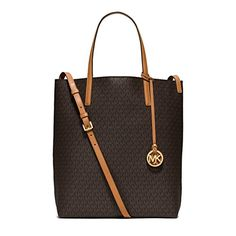 Women's Shoulder Bags - Michael Kors Hayley Large Logo Convertible Tote in Brown Peanut *** Want to know more, click on the image.
