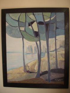 Calanques cubisme 1984 Tableau peinture huile