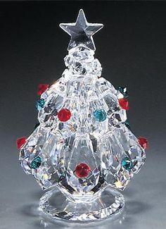 Christmas Tree crystal figurine from Swarovski Ornaments, Swarovski Crystal Figurines, Swarovski Crystals, Cut Glass, Glass Art, Small Christmas Trees, Christmas Time, Glass Figurines, Faceted Crystal