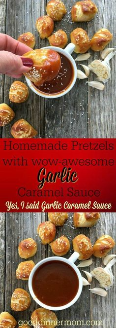 Homemade Pretzel Bites with Garlic Caramel Sauce Homemade Pretzels with Garlic Caramel Sauce is super easy to make in an afternoon and the savory sweet flavors are irresistable! Easy Appetizer Recipes, Best Appetizers, Snack Recipes, Healthy Recipes, Simple Appetizers, Tasty Snacks, Delicious Recipes, Easy Recipes, Dinner Recipes