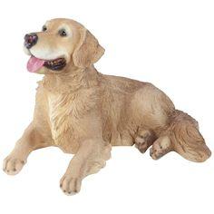 Large Realistic Laying Golden Retriever Dog Polyresin Garden Ornament