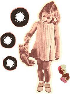 Sticker Petite fille au nounours. Création Art for Kids