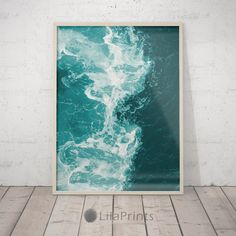 Teal Blue Water Beach Decor, Ocean Wave Art Print, Printable Art,... ($5.70) ❤ liked on Polyvore featuring home, home decor, wall art, turquoise wall art, sea home decor, teal wall art, home wall decor and interior wall decor