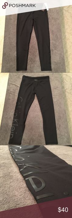 "BRAND NEW Calvin Klein Women's Leggings These Calvin Klein leggings are brand new with original tags. No damage. The material is 91% nylon and 9% spandex. The leggings feature the words ""CALVIN KLEIN"" in black, plastic lettering down the pant leg. Calvin Klein Pants Leggings"