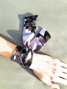 Grey Floral Silk Bracelet with Ring. by SilkPhilosophy. Hermes Style. Scarf Bracelet.