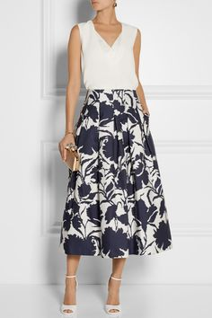 Oscar de la Renta skirt and clutch, Adam Lippes top, Givenchy shoes