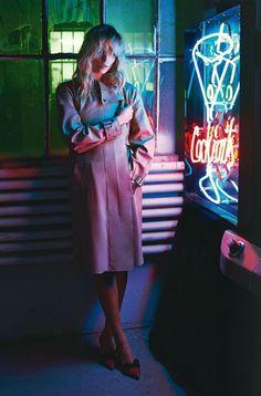 Neon noir Natasha Poly for Vogue Paris March 2014 by Mario Sorrenti