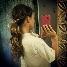 French braid into curly pony tail- hairstyle I wore as a bridesmaid to my brother's wedding