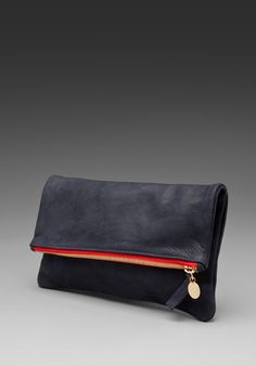 CLARE VIVIER Foldover Clutch in Navy/Red at Revolve Clothing - Free Shipping!