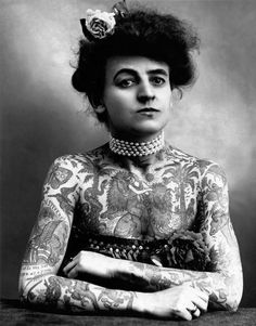 Maud Stevens Wagner 1907 (Circus Performer and First Known Female Tattoo Artist in the USA) 1877-1961