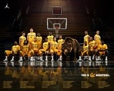 california golden bears men's basketball team. Cal Bears Basketball, Indoor Basketball Hoop, Basketball Academy, Basketball Posters, Basketball Shooting, Basketball Pictures, Basketball Teams, Sports Posters, Photography
