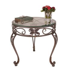Camille Antique Nickel Dragonfly Round Side Table