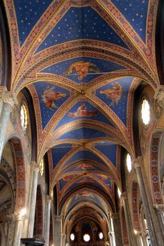 Celestial blue ceiling fresco at Santa Maria sopra Minerva in Rome (March 2015) - Photo taken by BradJill