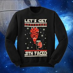 Lets Get Sith Faced Star Wars Ugly Christmas Sweater Style May The Force Be With You (45.00 USD) by VESTYS