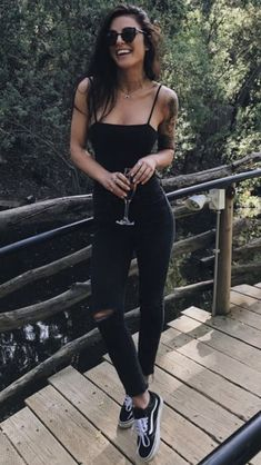 #Total_Black_Look #Black_Jeans #Black_Bodysuit #Black_Love