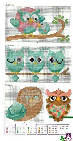 Owls perler bead pattern by clara Cross Stitch Owl, Cross Stitch Animals, Cross Stitch Charts, Cross Stitch Designs, Cross Stitching, Cross Stitch Embroidery, Cross Stitch Patterns, Owl Patterns, Perler Patterns