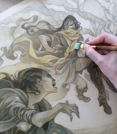 Pinned for the flowwing robes. Fantasy illustration by Wylie Beckert: Cold Wind