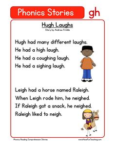 This Reading Comprehension Worksheet - Hugh Laughs is for teaching reading comprehension. Use this reading comprehension story to teach reading comprehension.