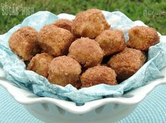 a homemade one. What I don't love is the pain associated with deep frying them. It is messy, time consuming and certainly more fattening. These baked Cinnamon Breakfast Bites mimic what I love about donut holes but without all the added stress and calories. They are super scrumptious and I encourage you to try them out yourself and see how long they last in your house!