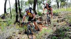 Mountain bikers tackling a rocky part of the Goldfields Track, Goldfields region, Victoria, Australia