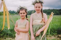 flower girls with ribbon wands + flower crowns! so sweet.