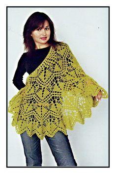 Shawl Archives - Beautiful Crochet Patterns and Knitting Patterns Poncho Au Crochet, Beau Crochet, Crochet Shawl Diagram, Crochet Scarves, Knit Crochet, Crochet Blouse, Baby Dress Patterns, Lace Patterns, Knitting Patterns