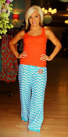 Monogrammed Chevron Pajama Pants..SOOO cute!!!!!!!!! Someone please get me these!!!!!