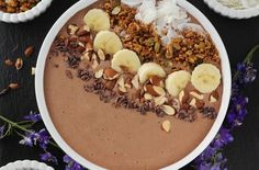 """Chocolate """"Peanut Butter"""" Protein Smoothie Bowl  """
