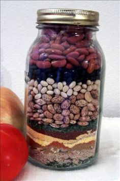 Food gifts in a jar: Painted Desert Chili mix in a jar, Smores in a Jar, 9 Bean Soup, Cowgirl Cookies, etc., etc.