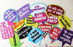 Letreros divertidos globos de dialogo photobooth photocall fiestas fotos