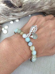 Light Earthtone Amazonite Beaded Bracelet with by SimplyQuinns