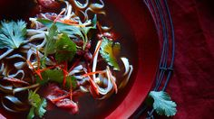 Vietnamese chilli beef and noodle sou