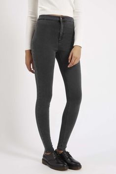 MOTO Dark Grey Joni Jeans - Joni Super High Waisted Jeans - Jeans - Clothing❤️