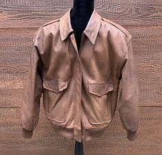 f83e7fe4 Details about IZZI LEATHERS Vintage 80s Brown Leather Flight Bomber Jacket  Men's M
