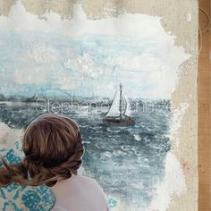 Sailing away. A work in progress with a combination between painting and scrapbooking on a piece of fabric canvas from @canvascorp @canvascorpbrands #scrapbookingpage #layout #canvas #canvascorpbrands #canvascorp #mixedmedia #canvas #painting #drawing #sailing #sea