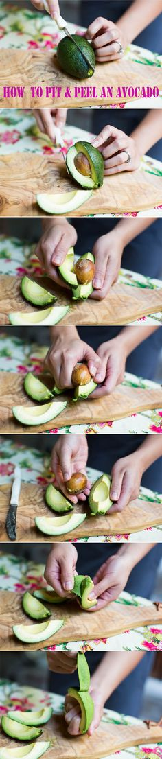 How to Pit and Peel an Avocado - Cut the avocado into quarters by cross-sectioning it lengthwise. Break it apart and remove the pit (easy, huh?!) Peel the skin off like a banana from top to bottom.